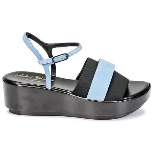 Robert Clergerie PODDY Schwarz /  Blau  / Schuhe Sandalen / Sandaletten Damen 144,50 5638ac