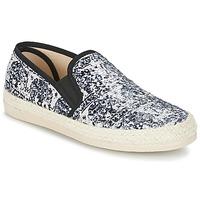 Schuhe Damen Leinen-Pantoletten mit gefloch Spiral VIRGINIA Schwarz / Weiss