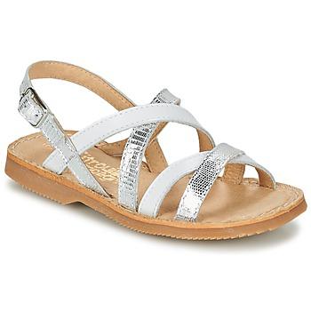 Schuhe Mädchen Sandalen / Sandaletten Citrouille et Compagnie GENTOU Weiss / Silbern