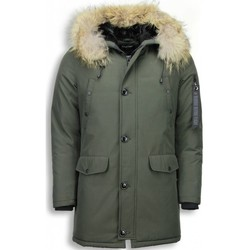 Kleidung Damen Parkas Enos Jacken Mit Fellkragen Winter Jack Lang Große XL Grün