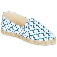 Schuhe Damen Leinen-Pantoletten mit gefloch Maiett KIMONO Weiss / Blau