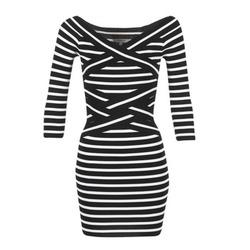 Kleidung Damen Kurze Kleider Morgan RBEST Schwarz / Naturfarben