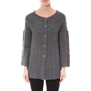 Kleidung Damen Pullover De Fil En Aiguille Gilet MaElla Anthracite AN 141 Grau