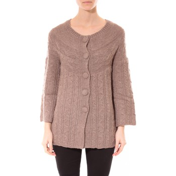 Kleidung Damen Pullover De Fil En Aiguille Gilet MaElla Taupe AN 141 Braun