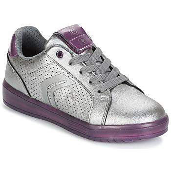 Schuhe Mädchen Sneaker Low Geox J KOMMODOR G.A Silbern / Pflaume