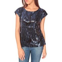 Kleidung Damen T-Shirts Tcqb Top 23171 paillettes Julie GG Noir/Bleu Schwarz
