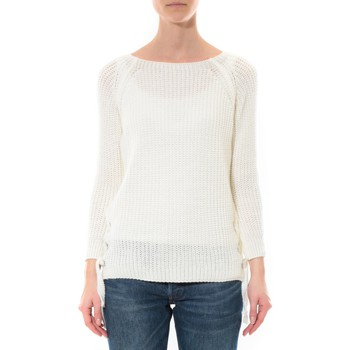 Kleidung Damen Pullover De Fil En Aiguille Pull Lacets Blanc Weiss