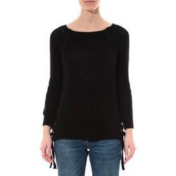 Kleidung Damen Pullover De Fil En Aiguille Pull Lacets Noir Schwarz