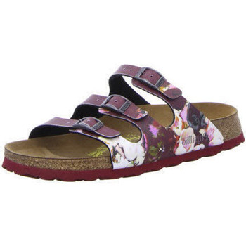 Schuhe Damen Pantoffel Birkenstock Florida painted bloom red so