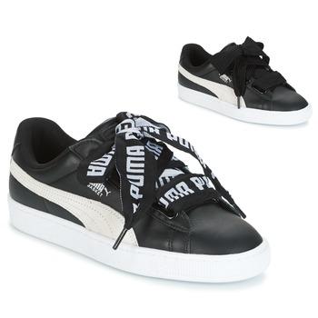 Schuhe Damen Sneaker Low Puma Basket Heart DE Schwarz / Weiss