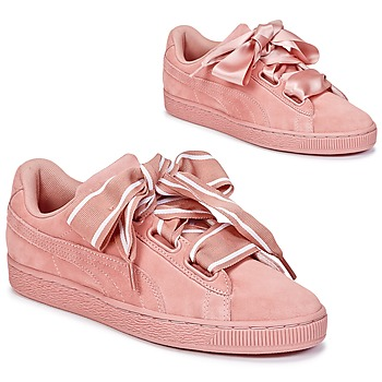 Schuhe Damen Sneaker Low Puma Basket Heart Satin Rose