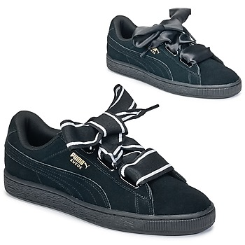 Schuhe Damen Sneaker Low Puma Basket Heart Satin Schwarz