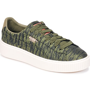 Schuhe Damen Sneaker Low Puma Basket Platform Bi Color Kaki