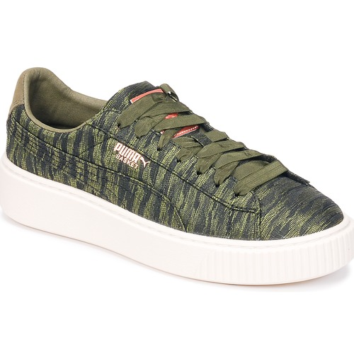 Puma Basket Platform Bi Color Kaki  Schuhe Sneaker Low Damen