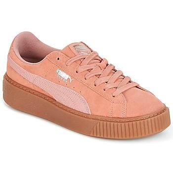 Schuhe Damen Sneaker Low Puma Suede Platform Core Gum Rose