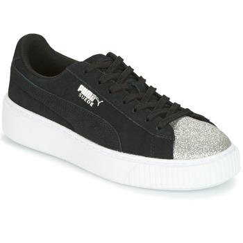 Schuhe Damen Sneaker Low Puma SUEDE PLATFORM GLAM JR Schwarz / Silbern