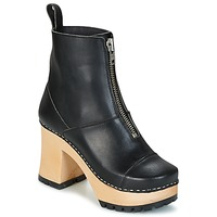 Schuhe Damen Low Boots Swedish hasbeens GRUNGE BOOT BLACK Schwarz