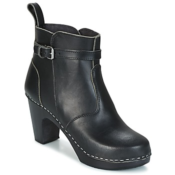 Schuhe Damen Low Boots Swedish hasbeens HIGH HEELED JODHPUR Schwarz