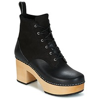 Schuhe Damen Low Boots Swedish hasbeens HIPPIE LACE UP Schwarz