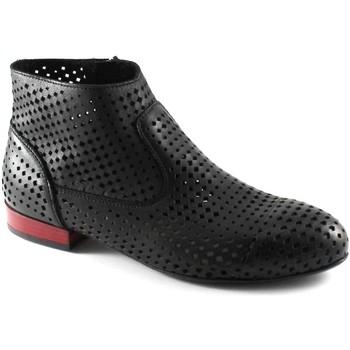 Schuhe Damen Low Boots Café Noir CAF NOIR MEB232 schwarz Stiefelette Stub zip durchstochen Frau Nero