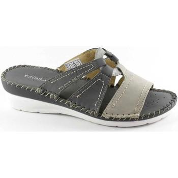 Schuhe Damen Pantoffel Grunland GRÜNLAND CERA grauem Leder Pantoffeln Dame CI2109 zeppetta Grigio