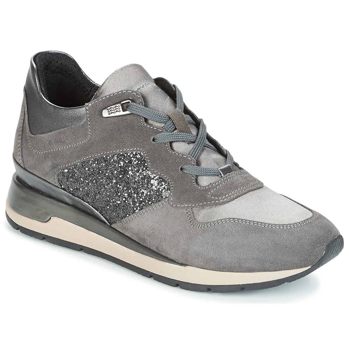 Geox D SHAHIRA Grau - Kostenloser Versand bei Spartoode ! - Schuhe Sneaker Low Damen 95,20 €