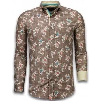 Kleidung Herren Langärmelige Hemden Tony Backer Slim Woven Flowers Pattern Braun