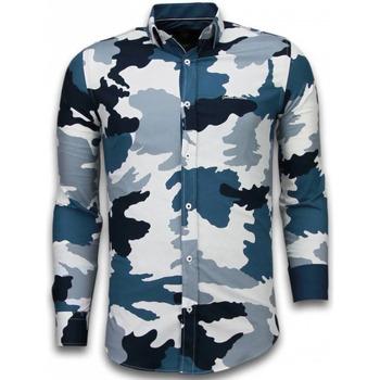 Kleidung Herren Langärmelige Hemden Tony Backer Slim Classic Army Pattern Weiß, Blau