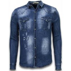 Kleidung Herren Langärmelige Hemden Enos Jeanshemd Slim Long Sleeve Vintage Look Blau