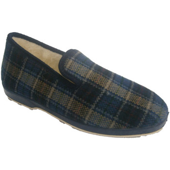 Schuhe Herren Hausschuhe Made In Spain 1940  Slipper Blau kariertes Tuch Soca blau Blau