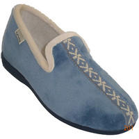 Schuhe Damen Hausschuhe Muro  Slipper geschlossen mit Rand auf der K Blau