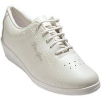 Schuhe Damen Sneaker Low Made In Spain 1940  Deportivo schnürt Dame Leder Keil Ferg Weiss