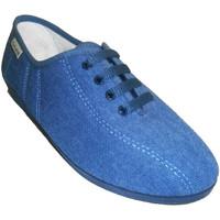 Schuhe Damen Hausschuhe Muro  Keilschuh Schnürsenkel  Jeans Blau