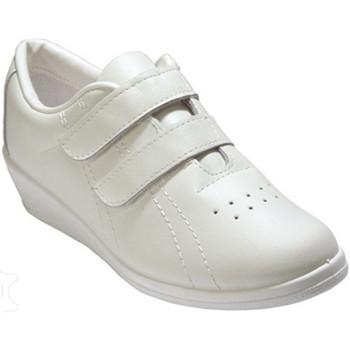 Schuhe Damen Sneaker Low Made In Spain 1940  Deportivo Klettverschluss Keil Dame mi Weiss