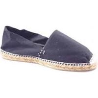 Schuhe Leinen-Pantoletten mit gefloch Made In Spain 1940 Alpargatas Flach esparto Made in Spain s Schwarz