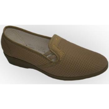 Schuhe Damen Slipper Calzacomodo Stoff Schuhregal mit halber Passfeder So Beige