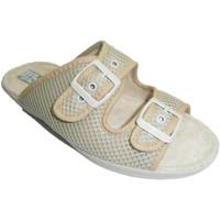 Schuhe Damen Pantoffel Made In Spain 1940 Netz-Tanga mit Doppelschnalle Alberola b Beige