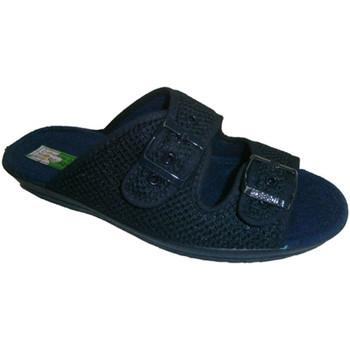 Schuhe Damen Pantoffel Made In Spain 1940 Thongs Raster Schnallen an den Fuß an Al Blau