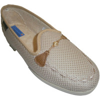 Schuhe Damen Slipper Made In Spain 1940 Hausschuhe geschlossen Ziergitter Kette Beige