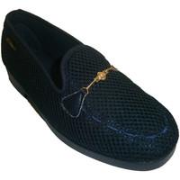Schuhe Damen Slipper Made In Spain 1940 Hausschuhe geschlossen Ziergitter Kette Blau