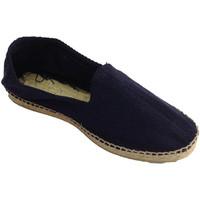 Schuhe Herren Leinen-Pantoletten mit gefloch Made In Spain 1940 Hanf Sandalen Fischgrätenstoff und Gummi Blau