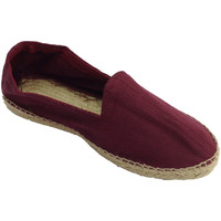 Schuhe Herren Leinen-Pantoletten mit gefloch Made In Spain 1940 Hanf Sandalen Fischgrätenstoff und Gummi Bordeaux
