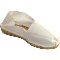 Schuhe Damen Leinen-Pantoletten mit gefloch Made In Spain 1940 Esparto Espadrilles niedrigen Keil Made Weiss