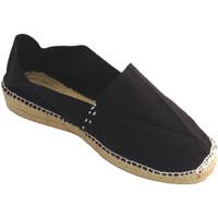 Schuhe Damen Leinen-Pantoletten mit gefloch Made In Spain 1940 Esparto Espadrilles niedrigen Keil Made Schwarz