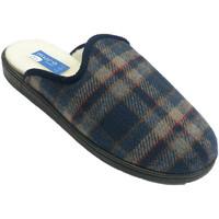 Schuhe Herren Hausschuhe Muro Thongs Tuch Gemälde Gummisohle Schaffell Blau