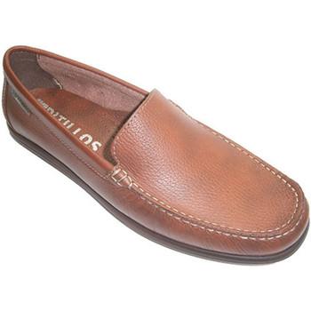 Schuhe Herren Slipper Pitillos Glatte Mokassin Schuh Art Schaufel Pitil Braun
