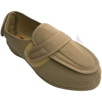 Schuhe Damen Hausschuhe Doctor Cutillas Schuhputzfrau sehr breite Füße mit Klett Beige