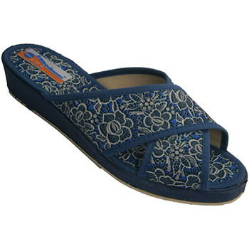 Schuhe Damen Pantoffel Calzacomodo Crzadas Streifen Höschen Frau mit Spitze Blau