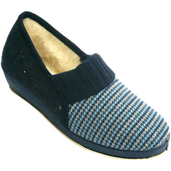 Schuhe Damen Hausschuhe Made In Spain 1940 Houndstooth Schuh Frau mit reiner Schurw Blau