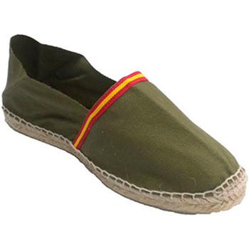 Schuhe Leinen-Pantoletten mit gefloch Made In Spain 1940 Manoletina Made in Spain kaki Weiss